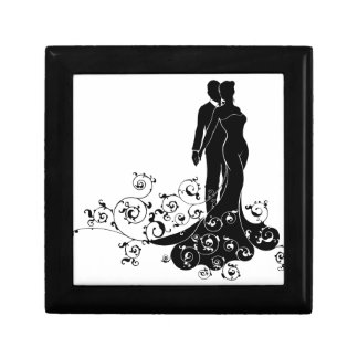 Abstract Bride and Groom Wedding Silhouette Gift Box