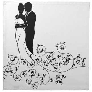 Abstract Bride and Groom Wedding Silhouette Napkin
