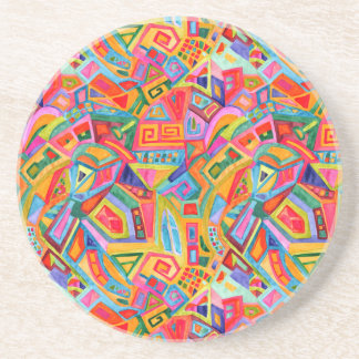 Abstract bright colorful geometric pattern beverage coasters