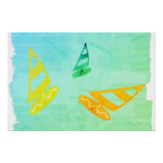 Abstract Bright Cool Surfer  Watercolor Art Poster