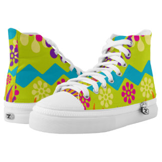 Abstract bright geometric high top sneaker