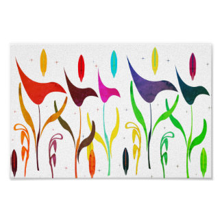 Abstract Bright Watercolor Calla Lily Impression Poster