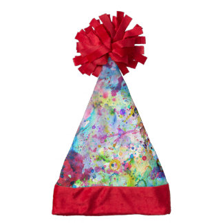 Abstract Bright Watercolor Paint Splatters Pattern Santa Hat