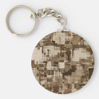Abstract Brown Camo pattern Basic Round Button Key Ring