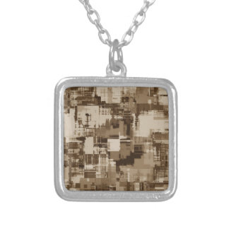 Abstract Brown Camo pattern Silver Plated Necklace