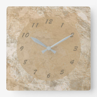 Abstract Brown Faux Marble Square Wall Clock