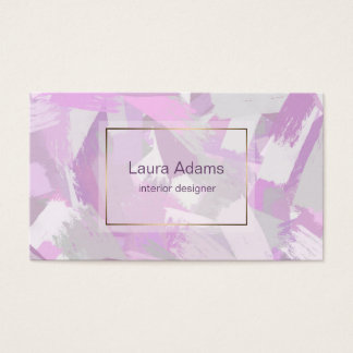 Abstract Brush strokes Pink Violet Business Card