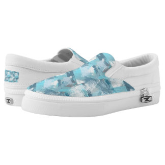 abstract brush strokes teal pattern. slip on shoes