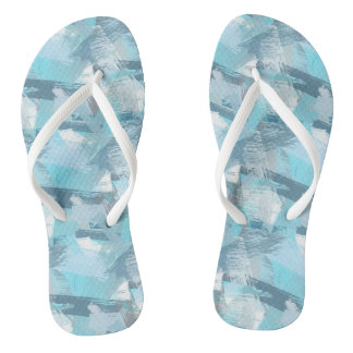 abstract brush strokes teal pattern. thongs