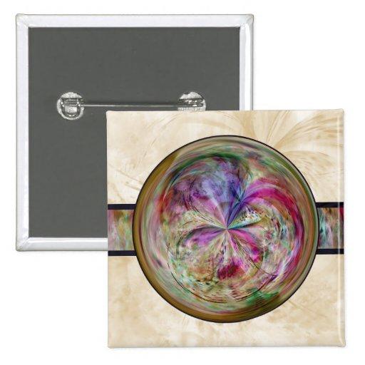 Abstract Bubble Mandala With Ribbon Button