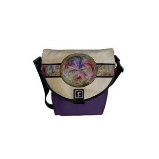 Abstract Bubble Mandala With Ribbon Messenger Bags