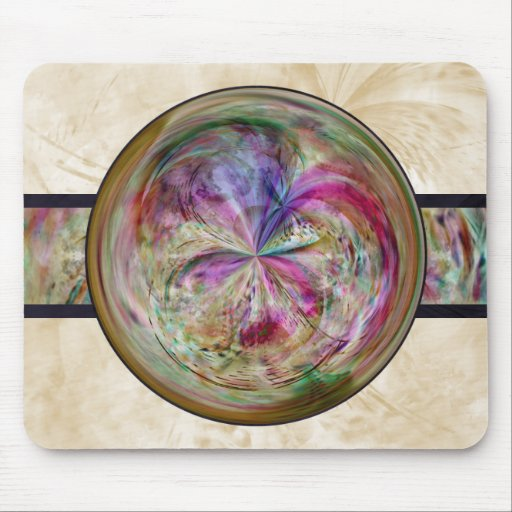 Abstract Bubble Mandala With Ribbon Mousepads