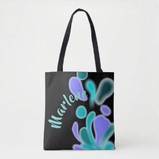 Abstract Bubbles Purple Green Personalized Tote Bag
