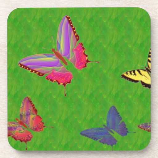 Abstract Butterflies Cork Coasters
