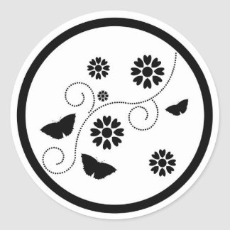 Abstract butterflies floral design stickers, gift round sticker