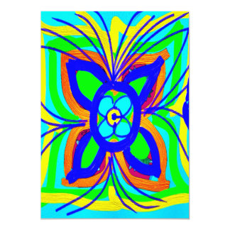 Abstract Butterfly Flower Kids Doodle Teal Lime 13 Cm X 18 Cm Invitation Card