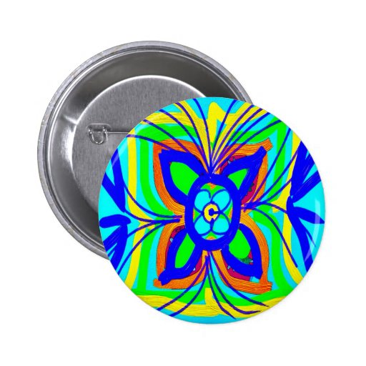 Abstract Butterfly Flower Kids Doodle Teal Lime Pinback Buttons
