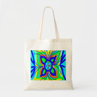 Abstract Butterfly Flower Kids Doodle Teal Lime Tote Bag