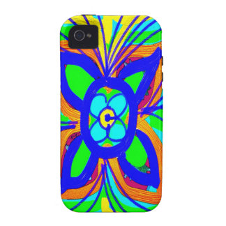 Abstract Butterfly Flower Kids Doodle Teal Lime Vibe iPhone 4 Cover
