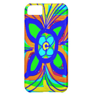 Abstract Butterfly Flower Kids Doodle Teal Lime Case For iPhone 5C