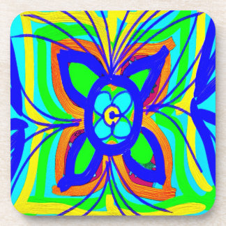 Abstract Butterfly Flower Kids Doodle Teal Lime Coaster