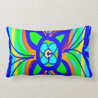 Abstract Butterfly Flower Kids Doodle Teal Lime Throw Pillow