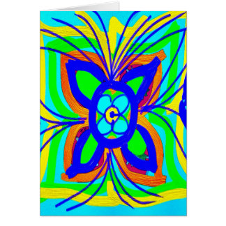 Abstract Butterfly Flower Kids Doodle Teal Lime Greeting Card