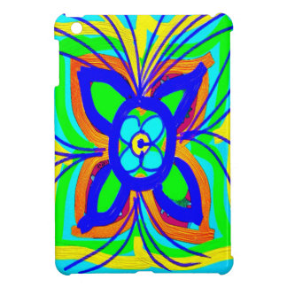 Abstract Butterfly Flower Kids Doodle Teal Lime iPad Mini Covers