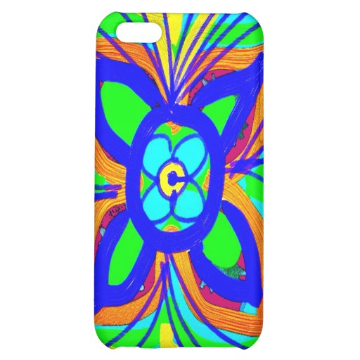 Abstract Butterfly Flower Kids Doodle Teal Lime iPhone 5C Case