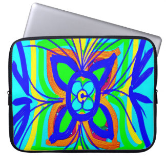 Abstract Butterfly Flower Kids Doodle Teal Lime Laptop Sleeve