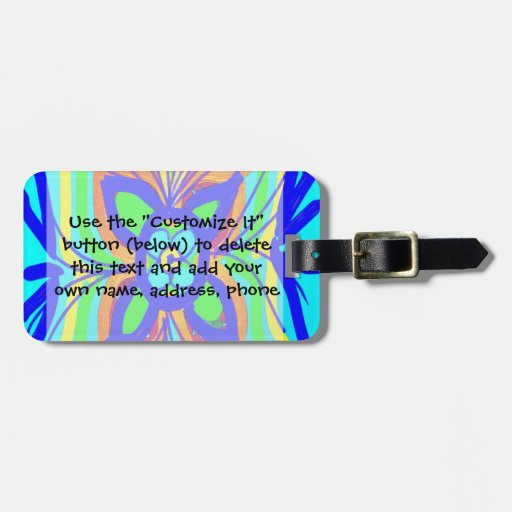 Abstract Butterfly Flower Kids Doodle Teal Lime Luggage Tag