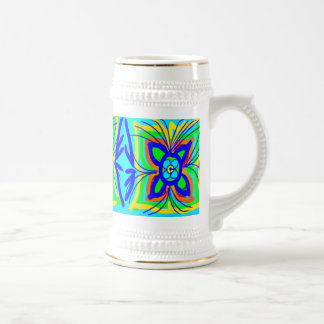 Abstract Butterfly Flower Kids Doodle Teal Lime Mug