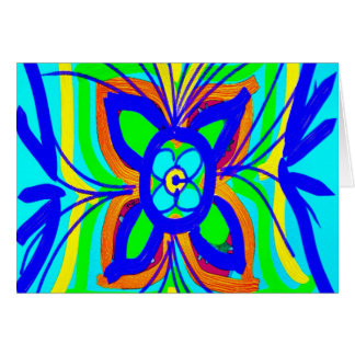 Abstract Butterfly Flower Kids Doodle Teal Lime Note Card