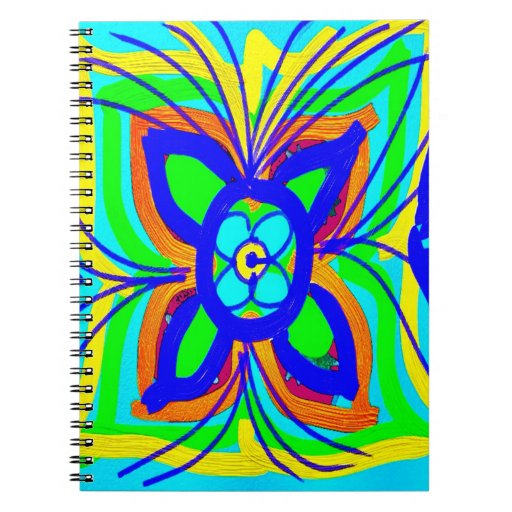 Abstract Butterfly Flower Kids Doodle Teal Lime Notebook