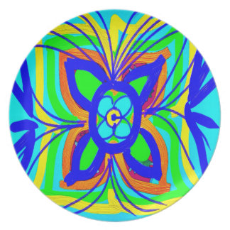 Abstract Butterfly Flower Kids Doodle Teal Lime Party Plate