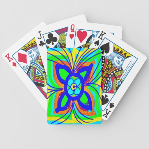 Abstract Butterfly Flower Kids Doodle Teal Lime Bicycle Playing Cards