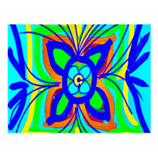 Abstract Butterfly Flower Kids Doodle Teal Lime Postcard