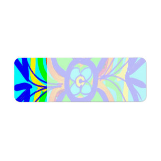 Abstract Butterfly Flower Kids Doodle Teal Lime Return Address Label
