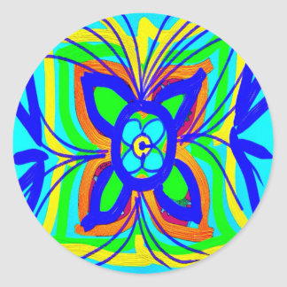 Abstract Butterfly Flower Kids Doodle Teal Lime Round Sticker