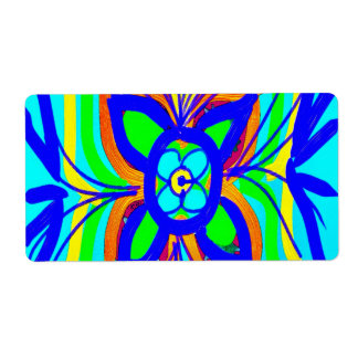 Abstract Butterfly Flower Kids Doodle Teal Lime Shipping Label