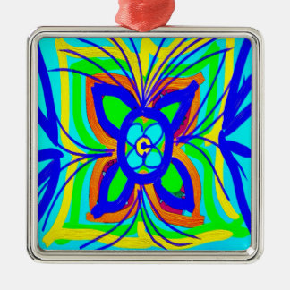 Abstract Butterfly Flower Kids Doodle Teal Lime Silver-Colored Square Decoration