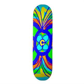 Abstract Butterfly Flower Kids Doodle Teal Lime Skateboard Decks