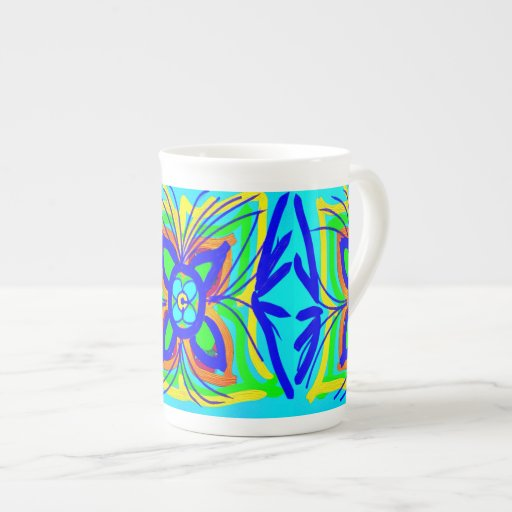 Abstract Butterfly Flower Kids Doodle Teal Lime Bone China Mug