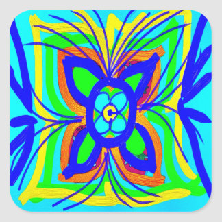 Abstract Butterfly Flower Kids Doodle Teal Lime Square Sticker