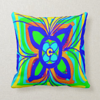Abstract Butterfly Flower Kids Doodle Teal Lime Throw Cushions