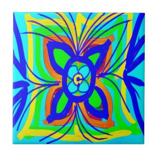 Abstract Butterfly Flower Kids Doodle Teal Lime Tile