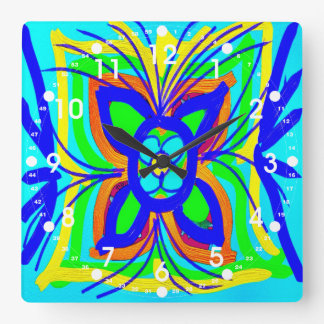 Abstract Butterfly Flower Kids Doodle Teal Lime Wallclock