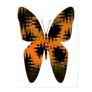Abstract Butterfly Orange Black Zig Zag pattern Postcard