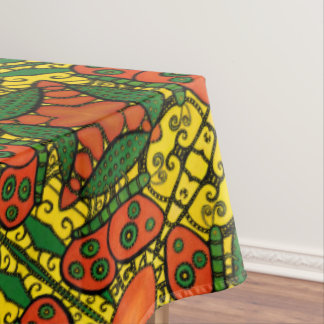 Abstract Butterfly Orange Yellow & Green Tablecloth