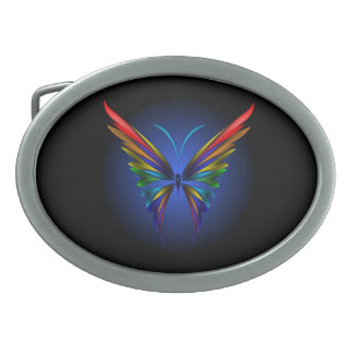 Abstract Butterfly Oval Belt Buckle